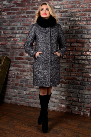 Modus: Пальто «Сплит Букле Крупное Зима Песец» 7207 - главное фото