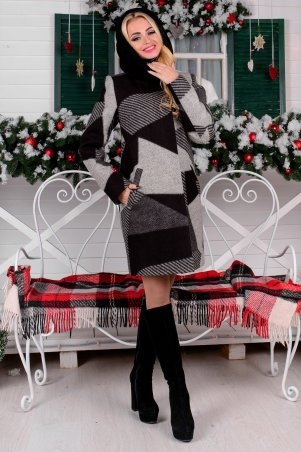 Modus: Пальто «Фортуна Лайт Шерсть Принт Хомут Зима» 8063 - главное фото