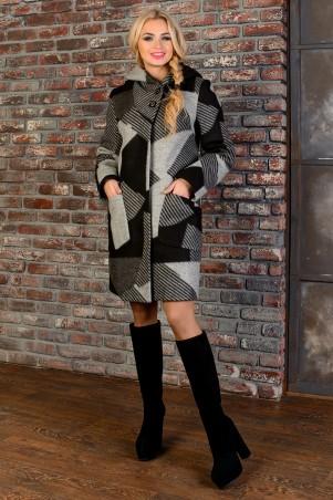 Modus: Пальто «Делфи Шерсть Принт Зима Б/м» 8311 - главное фото