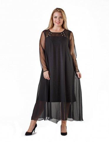 Enigma. A Платье вечернее свободного кроя с рукавами из сетки. Артикул: G3011A