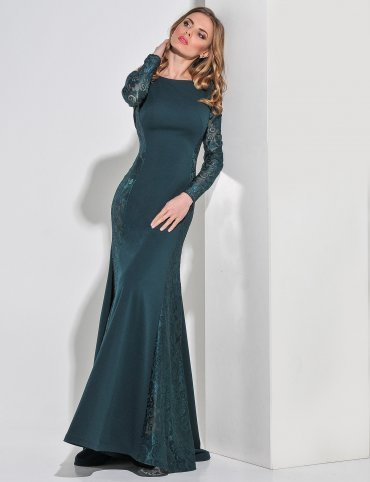 Enigma. Платье вечернее с просветом из гипюра по бокам. Артикул: G2161