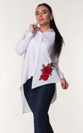Zanna Brend. Женская блуза асимметрия с красным цветком. Артикул: 694