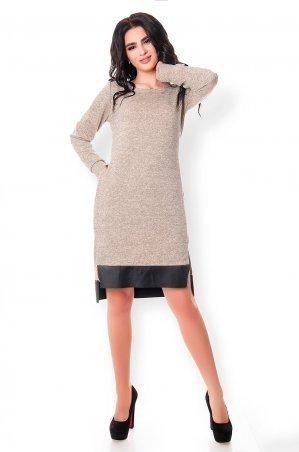 Velurs. Трендовое теплое платье с экокожей. Артикул: 1135