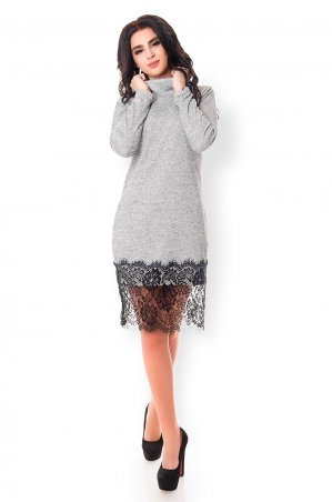 Velurs. Теплое платье с гипюровой юбкой. Артикул: 1138
