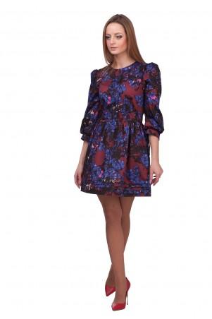 Lilo: Короткое платье-клеш с принтом сине-бордовых цветов 01880 - главное фото