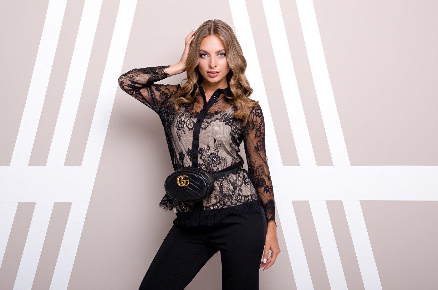 Блуза Хлоя Черный от , цвета черный, бежевый