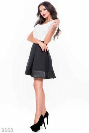 ISSA PLUS: Черная юбка-клеш с атласным широким краем 2068_черный - главное фото