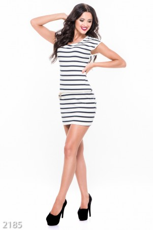 ISSA PLUS: Белое платье-мини в узкую черную полоску с декоративной молнией впереди 2185_белый - главное фото