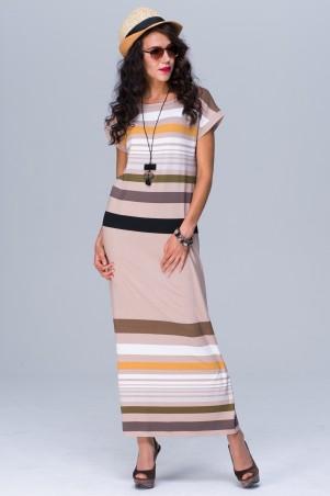 Jet: Платье МИРАНДА МАХИ полоска беж 1078.1-5471 - главное фото