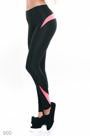 ISSA PLUS: Черные спортивные штаны из эластика с розовыми элементами 9002_черный/розовый - главное фото