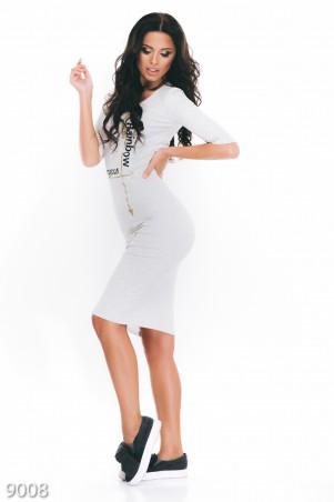 ISSA PLUS: Серое трикотажное платье-миди с крупным черным и золотистым принтом 9008_серый - главное фото