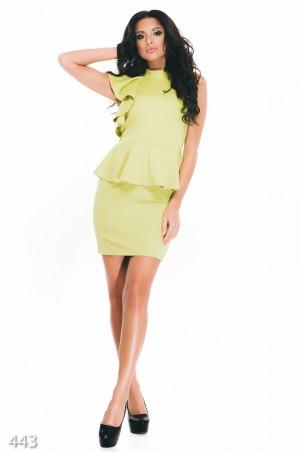 ISSA PLUS: Оливковое облегающее платье с баской и рукавом-воланом 443_оливковый - главное фото