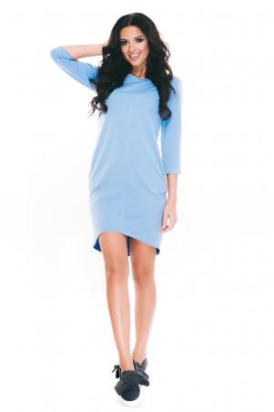 ISSA PLUS: Строгое спортивное голубое платье из двунити с кармашками 1641_голубой - главное фото