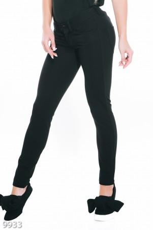 ISSA PLUS: Классические черные зауженные брюки с кармашками 9933_черный - главное фото