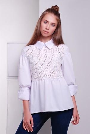 TessDress: Рубашка с прошвой в стиле кежуал  «Афина» 5049 - главное фото