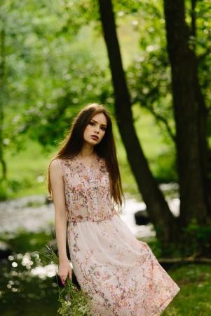 Lilo: Розовое струящееся платье миди с принтом сакура 08034 - главное фото