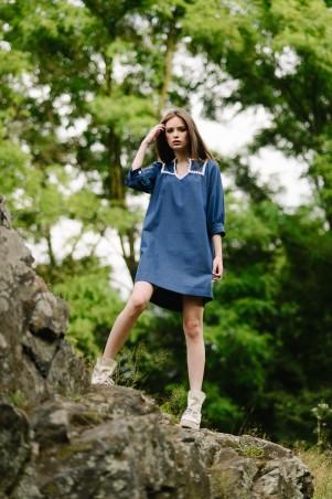 Lilo: Джинсовое короткое платье с кружевом 08038 - главное фото