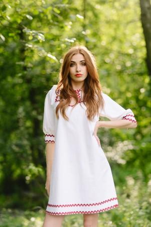 Lilo: Белое льняное платье с кружевом 08045 - главное фото