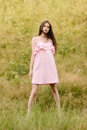 Lilo: Розовое платье на бретельках с рюшей 08032 - главное фото