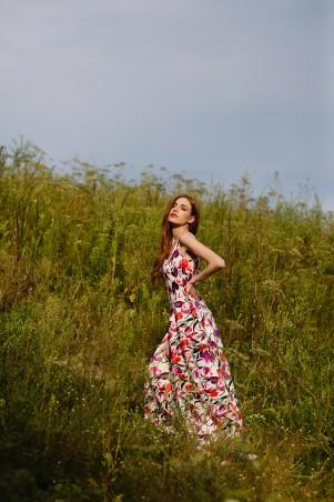 """Lilo: Длинное платье с вырезом на спине принт """"Тюльпаны"""" 08018 - главное фото"""