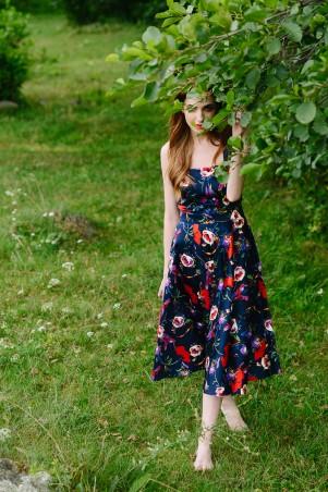 """Lilo: Синее платье миди с вырезом на спине принт """"Маки"""" 08014 - главное фото"""