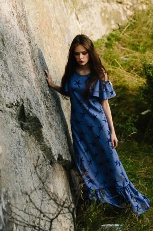 Lilo: Длинное джинсовое платье с рюшей в звезды 08021 - главное фото