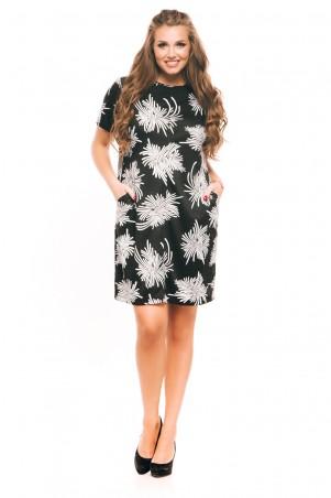 ISSA PLUS: Черное трикотажное платье с длинными рукавами и принтом георгин 9086_мультиколор - главное фото