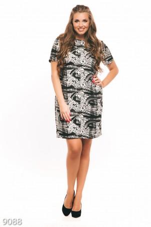 ISSA PLUS: Черно-белое платье +size с длинными рукавами и абстрактными узорами 9088_мультиколор - главное фото