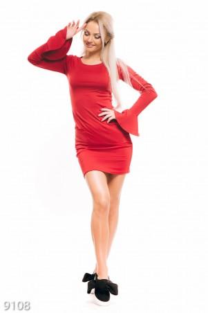ISSA PLUS: Красное облегающее платье с карманами и воланом на рукавах 9108_красный - главное фото
