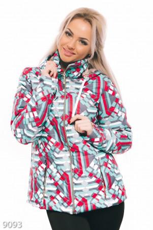ISSA PLUS: Осенняя дутая курточка на синтепоне в геометрических узорах 9093_мультиколор - главное фото