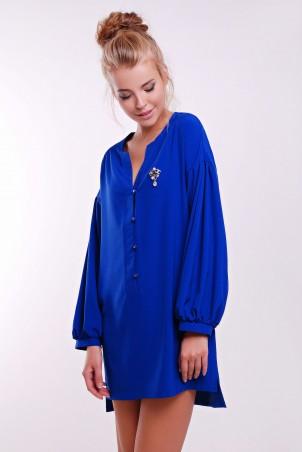 Zefir: Платье  с брошью и пышным рукавом RIKI синее - главное фото