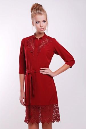 Zefir: Платье  с кружевом макраме DEBI бордо - главное фото