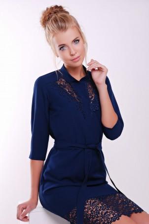 Zefir: Платье  с кружевом макраме DEBI темно-синее - главное фото