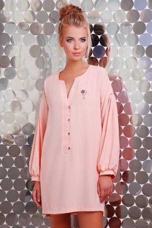 Zefir: Платье  с брошью и пышным рукавом RIKI розовое - главное фото