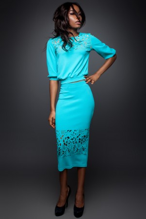 Jadone Fashion: Костюм (блуза и юбка) Кэролайн М-3 - главное фото