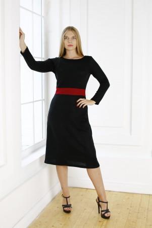 Шатня: Платье черное с вставкой в цвете бордо Я 1110 - главное фото