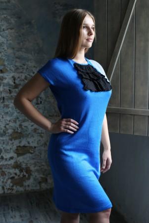 Шатня: Платье синеее с жабо я1000 - главное фото