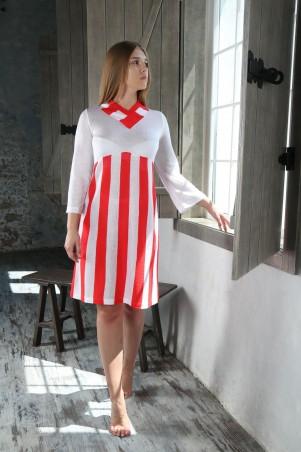 Шатня: Платье белое в коралловую полоску я0800 - главное фото