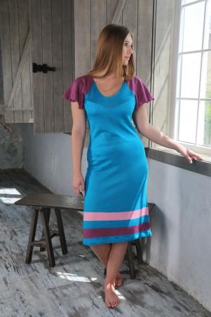 """Шатня: Платье бирюза с рукавом """"бабочка"""" я0700 - главное фото"""