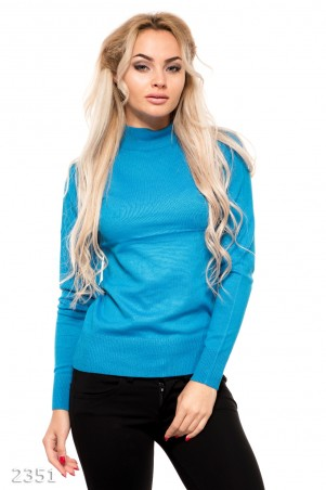 ISSA PLUS: Ярко-синий демисезонный свитерок из трикотажа с длинными рукавами 2351_электрик - главное фото