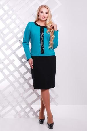 Tatiana: Платье с декором из пайеток бирюза АМИРА - главное фото