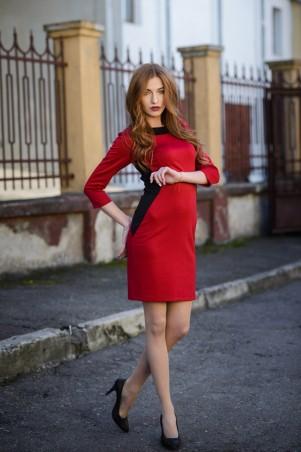 Ляпота: Платье комбинированое красное 3012 - главное фото
