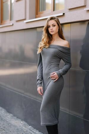 Ляпота: Платье миди с открытыми плечами серое 3006-2 - главное фото