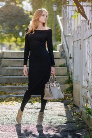 Ляпота. Платье миди с открытыми плечами черное. Артикул: 3006-1