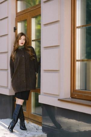 Ляпота: Полупальто коричневое oversize 1043 - главное фото