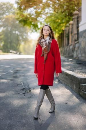 Ляпота: Пальто реглан красное 1042 - главное фото