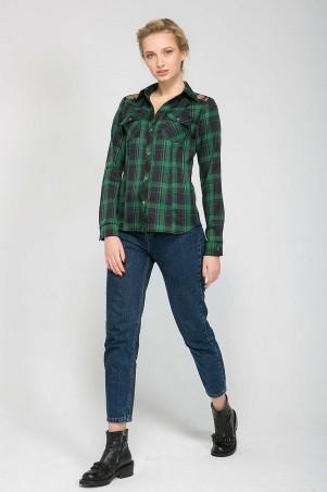Zefir: Рубашка с кружевной кокеткой BARE зеленая - главное фото