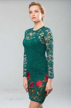 Zefir: Платье из гипюра с вышивкой ROSE зеленое - главное фото