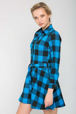 Zefir: Платье в клетку с юбкой клеш TRISH голубое - главное фото