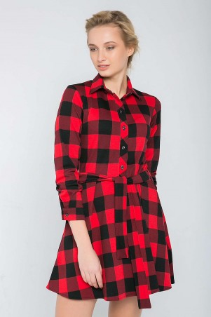 Zefir: Платье в клетку с юбкой клеш TRISH красное - главное фото